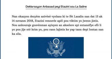 Déclaration de l'Ambassade des Etats-Unis à propos de La Saline